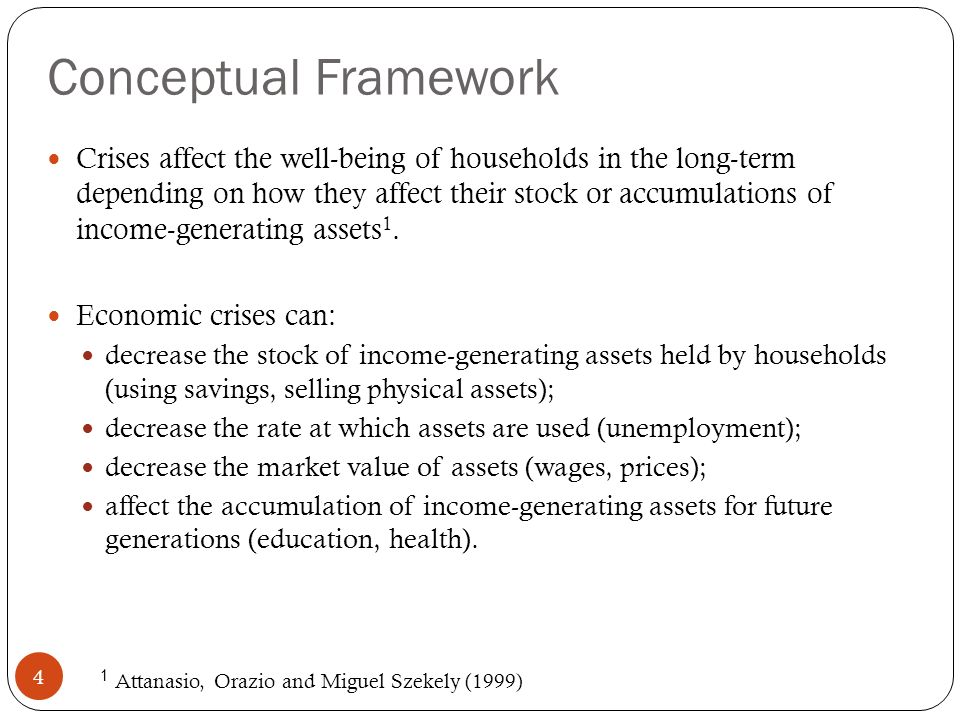 Conceptual Framework II 5 How much households choose to reduce their income- generating assets depends on 1 : Income effects Substitution effects Heterogeneity according to household characteristics Which of these effects dominates determines the extent to which households forgo future consumption vis-á-vis current consumption.