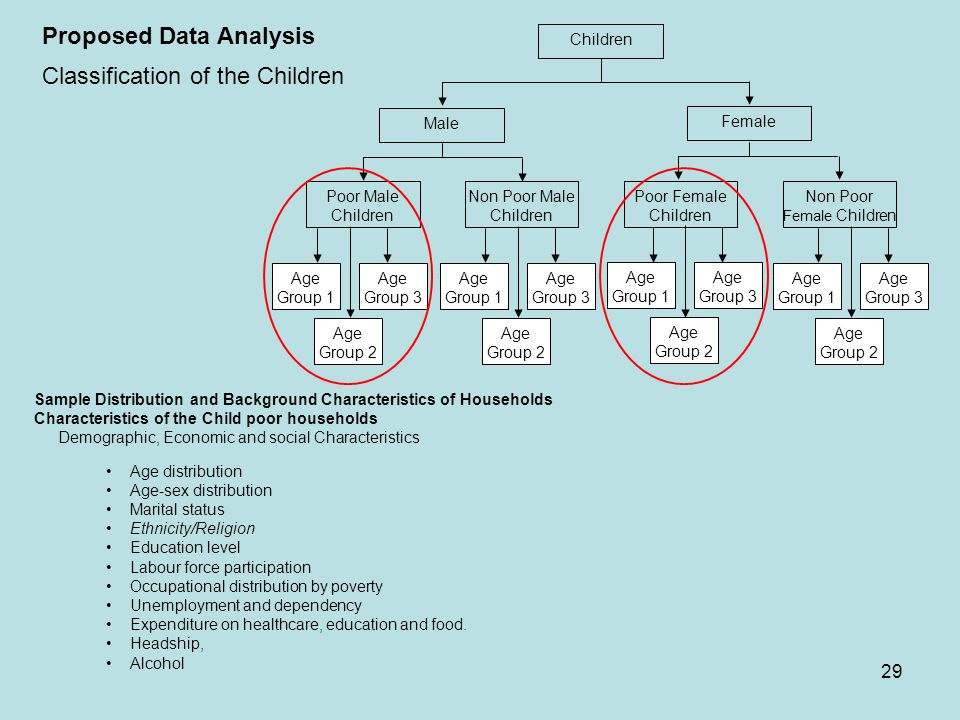 29 Proposed Data Analysis Classification of the Children Poor Male Children Non Poor Male Children Poor Female Children Non Poor Female Children Age G