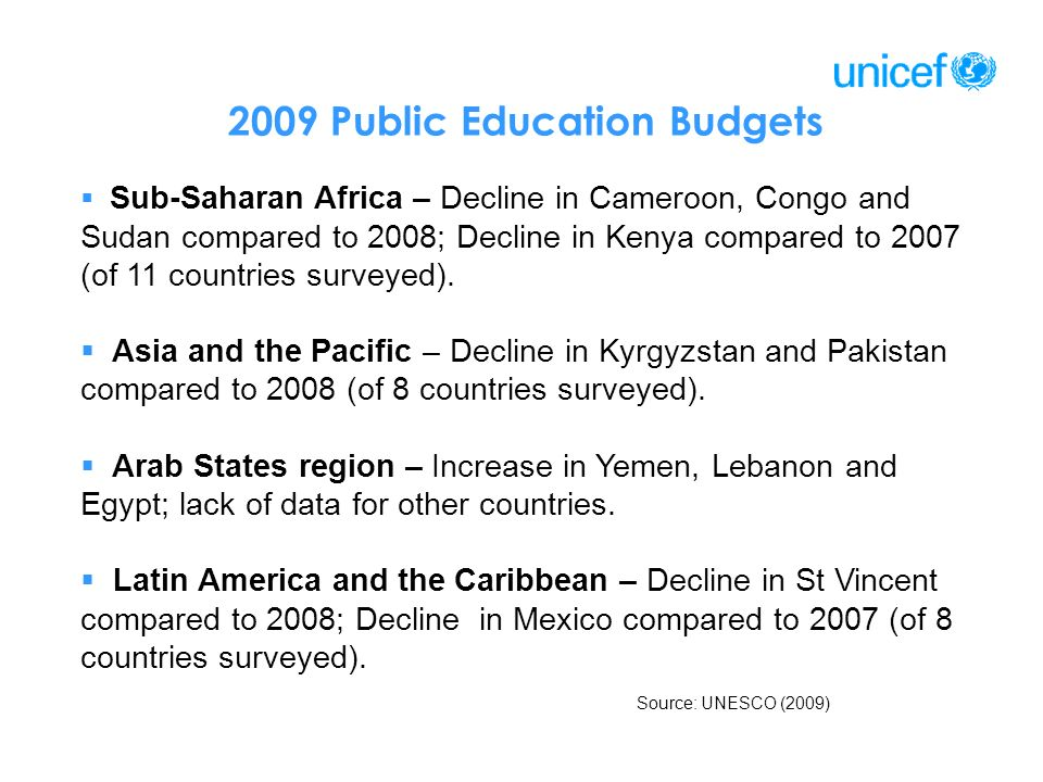 2009 Public Education Budgets Sub-Saharan Africa – Decline in Cameroon, Congo and Sudan compared to 2008; Decline in Kenya compared to 2007 (of 11 countries surveyed).