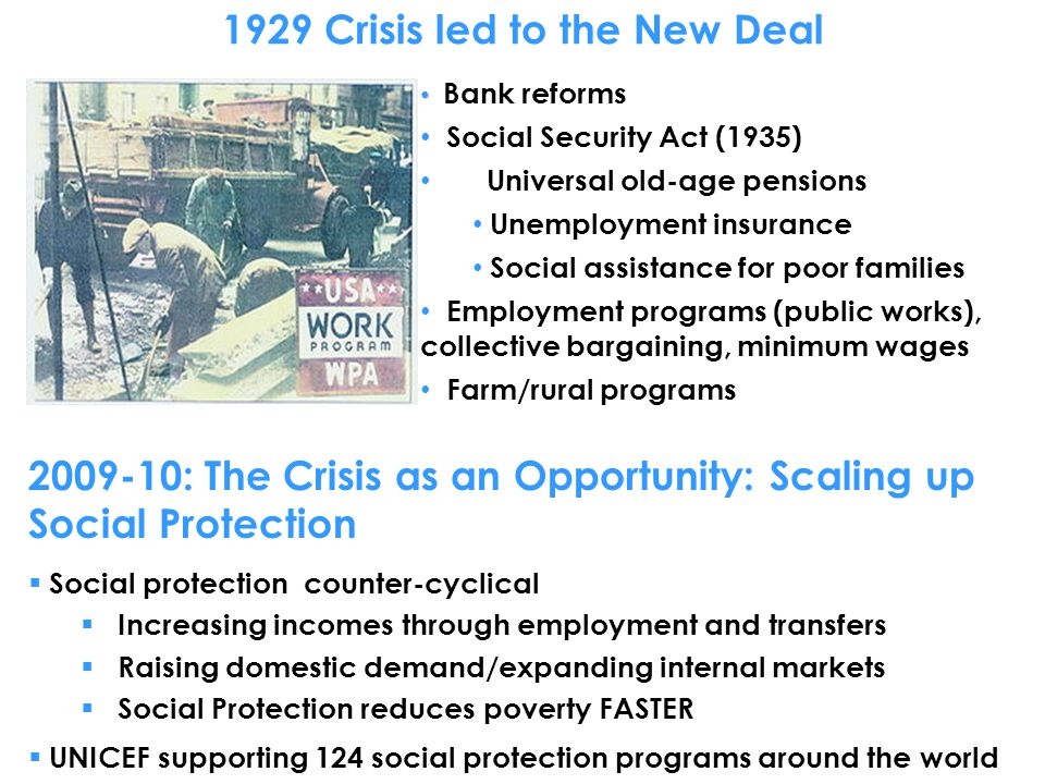 1929 Crisis led to the New Deal Bank reforms Social Security Act (1935) Universal old-age pensions Unemployment insurance Social assistance for poor families Employment programs (public works), collective bargaining, minimum wages Farm/rural programs : The Crisis as an Opportunity: Scaling up Social Protection Social protection counter-cyclical Increasing incomes through employment and transfers Raising domestic demand/expanding internal markets Social Protection reduces poverty FASTER UNICEF supporting 124 social protection programs around the world