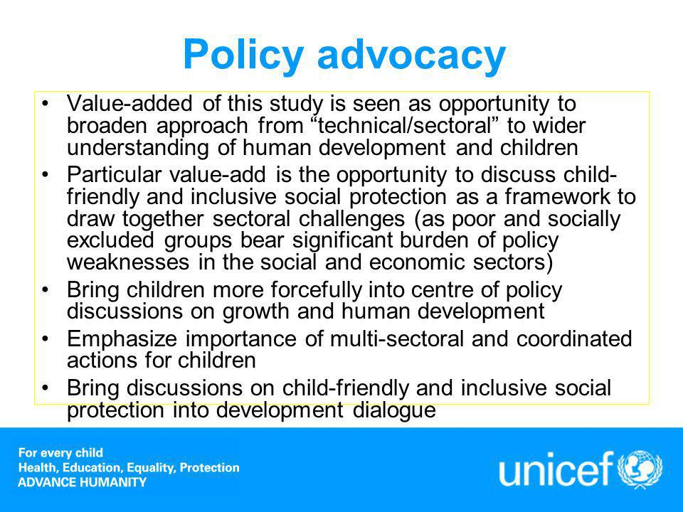 Data analysis Child poverty and deprivations – two separate aspects Poverty a household concept, therefore children in poor households considered Deprivations – a larger set, encompassing education, health, shelter, sanitation, water, and so on All analysis has the potential to inform national development policy processes