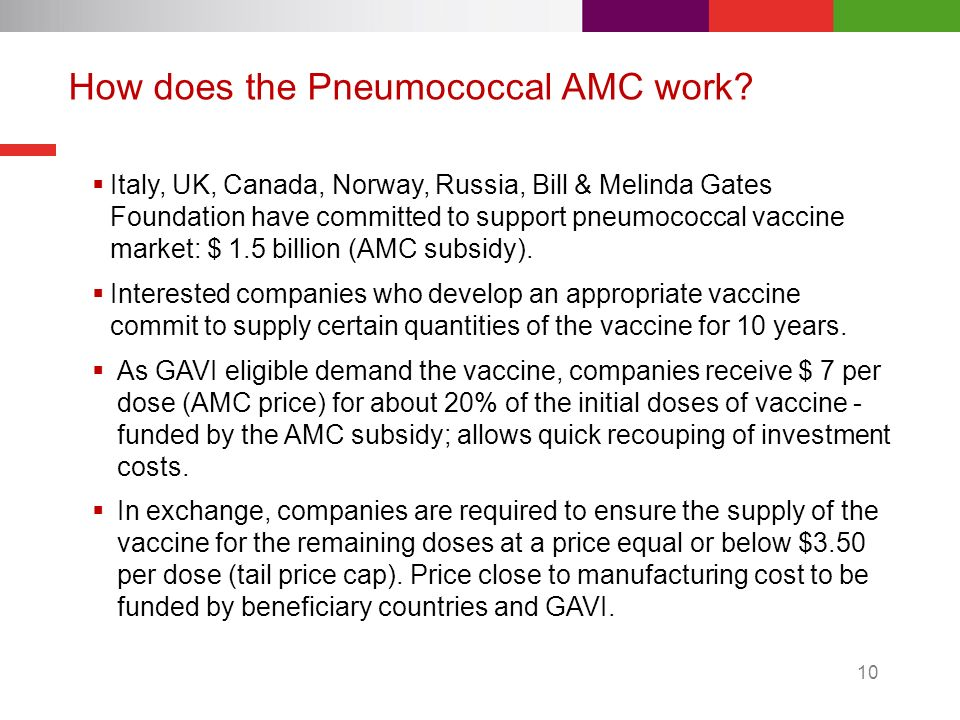 How does the Pneumococcal AMC work? Italy, UK, Canada, Norway, Russia, Bill & Melinda Gates Foundation have committed to support pneumococcal vaccine