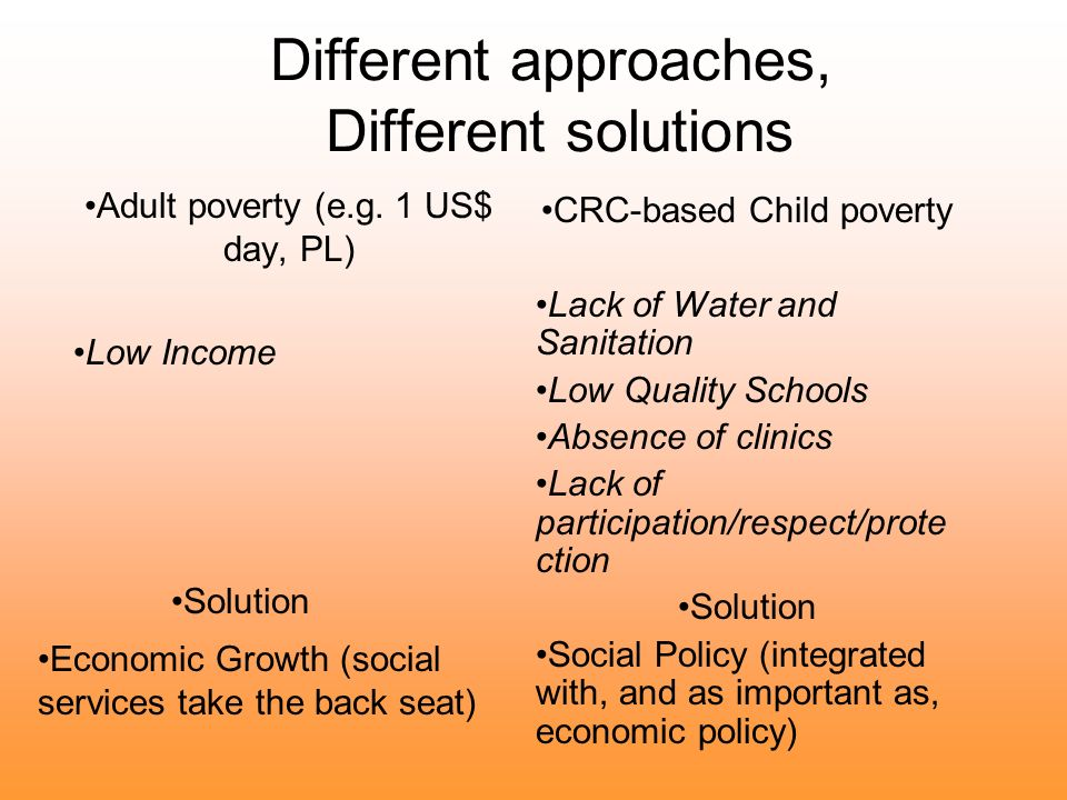 Different approaches, Different solutions Adult poverty (e.g.