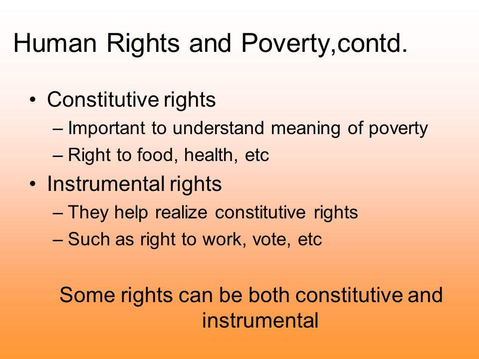 Human Rights and Poverty,contd.
