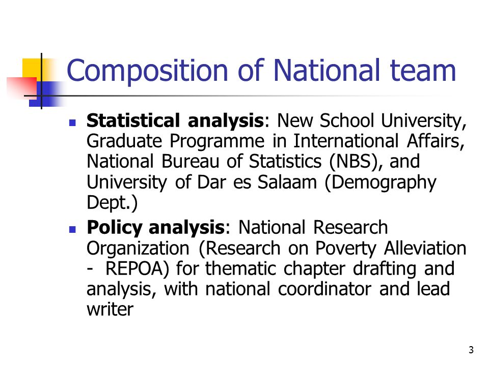 3 Composition of National team Statistical analysis: New School University, Graduate Programme in International Affairs, National Bureau of Statistics (NBS), and University of Dar es Salaam (Demography Dept.) Policy analysis: National Research Organization (Research on Poverty Alleviation - REPOA) for thematic chapter drafting and analysis, with national coordinator and lead writer