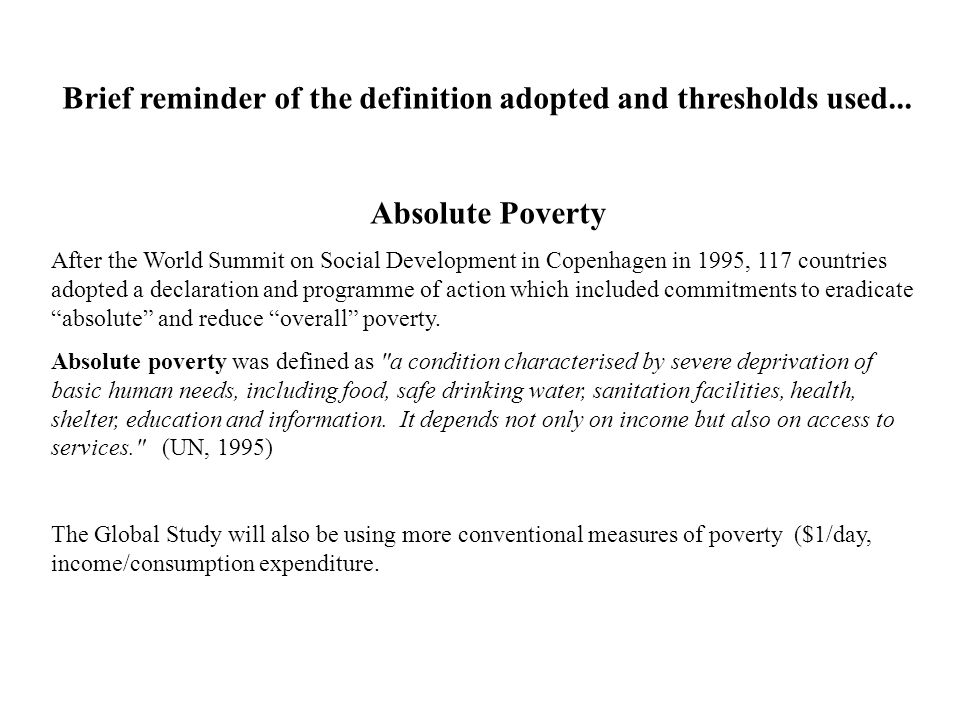 Brief reminder of the definition adopted and thresholds used...