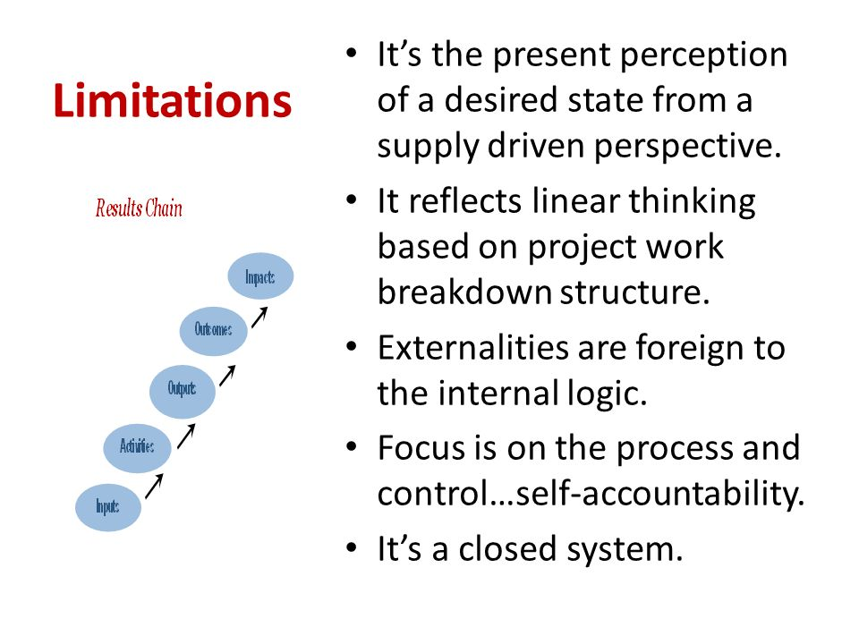 Limitations Its the present perception of a desired state from a supply driven perspective.