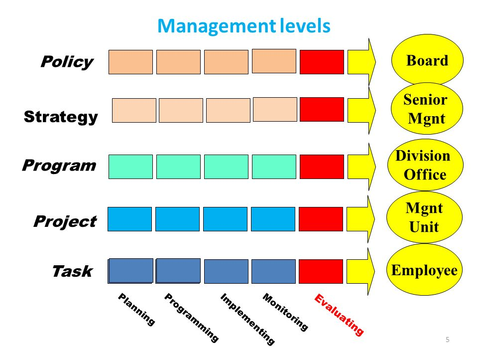 5 Management levels Mgnt Unit Employee Planning Monitoring Programming Evaluating Implementing Task Project Board Policy Senior Mgnt Strategy Division Office Program