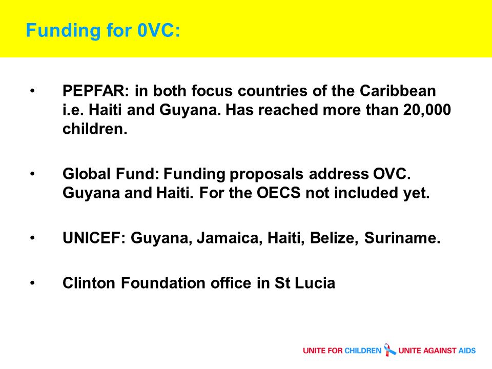 Success and Challenges Governments still not acknowledging OVC is a problem: HIV prevalence bn 1- 3% Some encouraging developments in Guyana and Jamaica on the policy front.