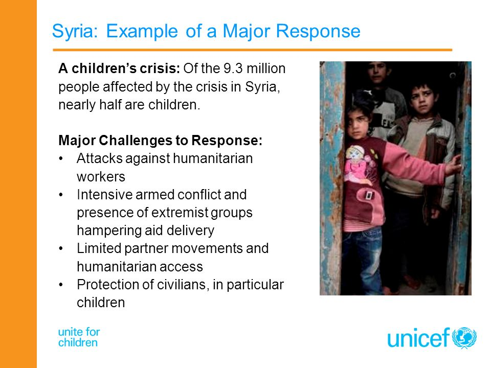 Syria: Example of a Major Response A childrens crisis: Of the 9.3 million people affected by the crisis in Syria, nearly half are children. Major Chal
