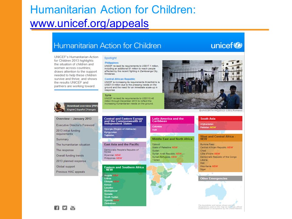 Humanitarian Action for Children: www.unicef.org/appeals www.unicef.org/appeals 18