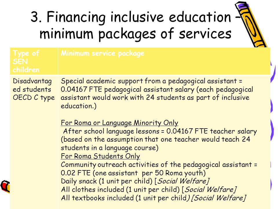 3. Financing inclusive education – minimum packages of services Type of SEN children Minimum service package Disadvantag ed students OECD C type Speci