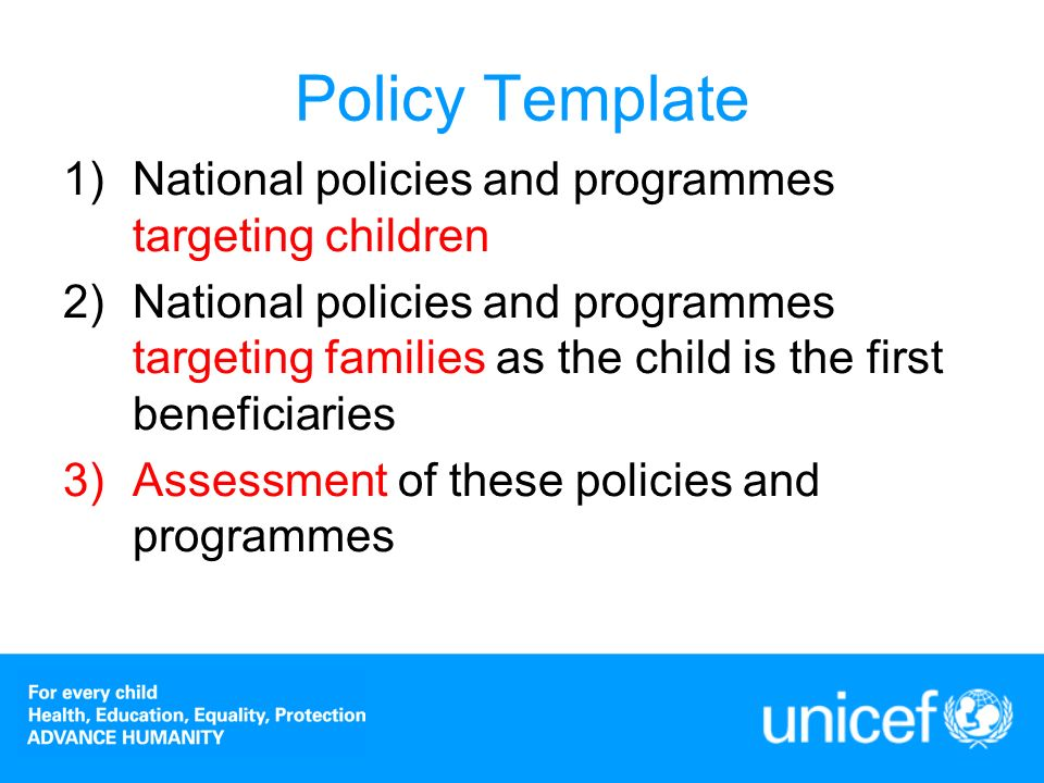 Statistical Template: additional tables Child nutrition outcome Quality of education Child labour Anemia FGM/C