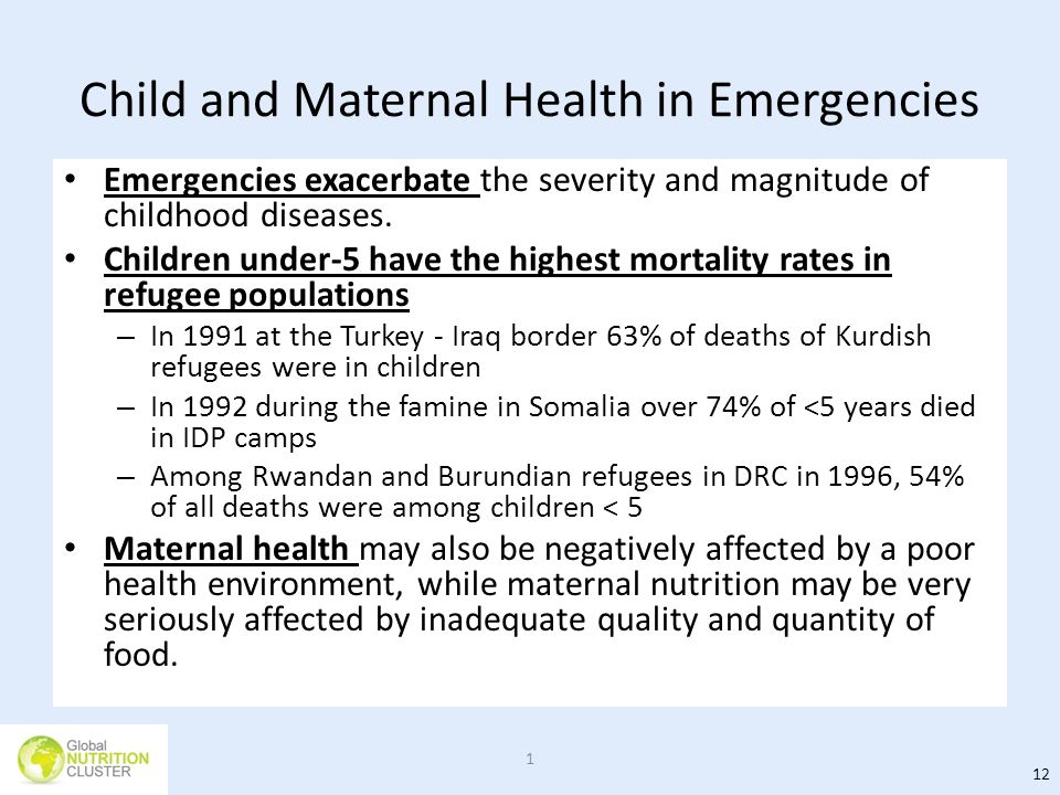 Child and Maternal Health in Emergencies Emergencies exacerbate the severity and magnitude of childhood diseases. Children under-5 have the highest mo
