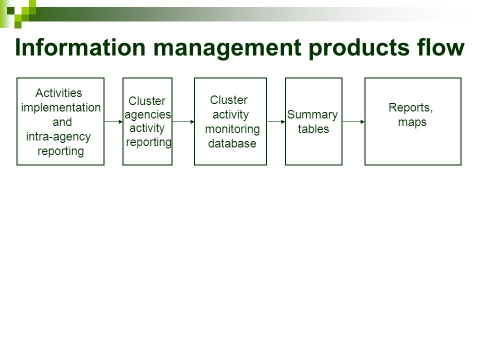 Information management products flow Activities implementation and intra-agency reporting Cluster agencies activity reporting Cluster activity monitoring database Summary tables Reports, maps