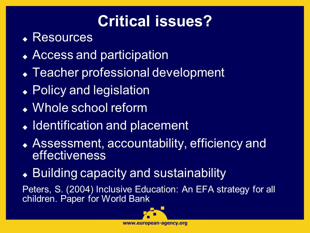 Critical issues? Resources Access and participation Teacher professional development Policy and legislation Whole school reform Identification and pla