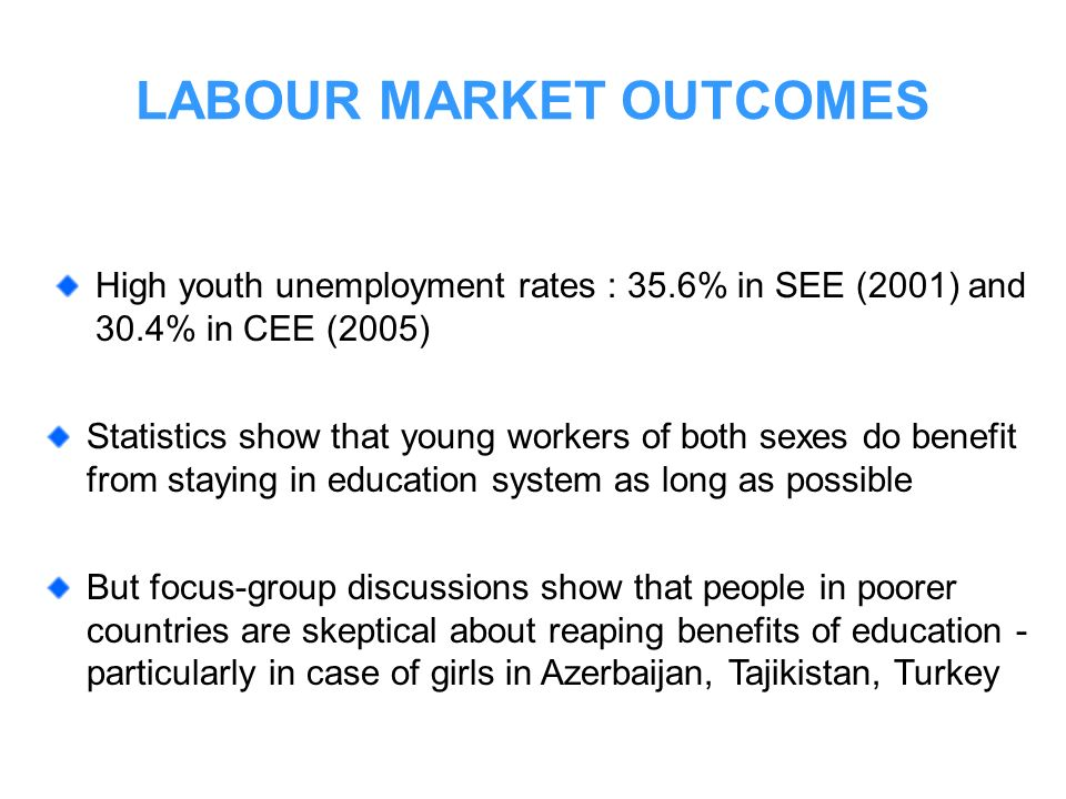 LABOUR MARKET OUTCOMES Statistics show that young workers of both sexes do benefit from staying in education system as long as possible But focus-grou