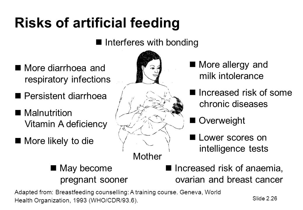 Risks of artificial feeding Interferes with bonding More diarrhoea and respiratory infections Persistent diarrhoea Malnutrition Vitamin A deficiency More likely to die More allergy and milk intolerance Increased risk of some chronic diseases Overweight Lower scores on intelligence tests May become pregnant sooner Increased risk of anaemia, ovarian and breast cancer Mother Adapted from: Breastfeeding counselling: A training course.