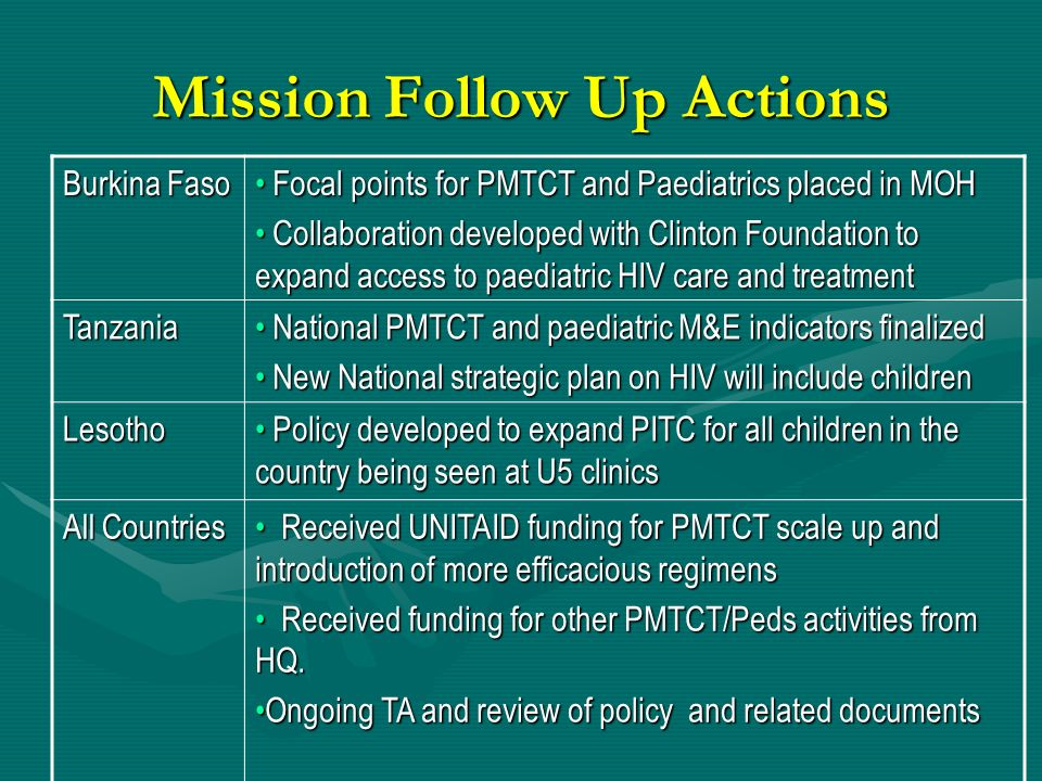 Mission Follow Up Actions Burkina Faso Focal points for PMTCT and Paediatrics placed in MOH Focal points for PMTCT and Paediatrics placed in MOH Colla