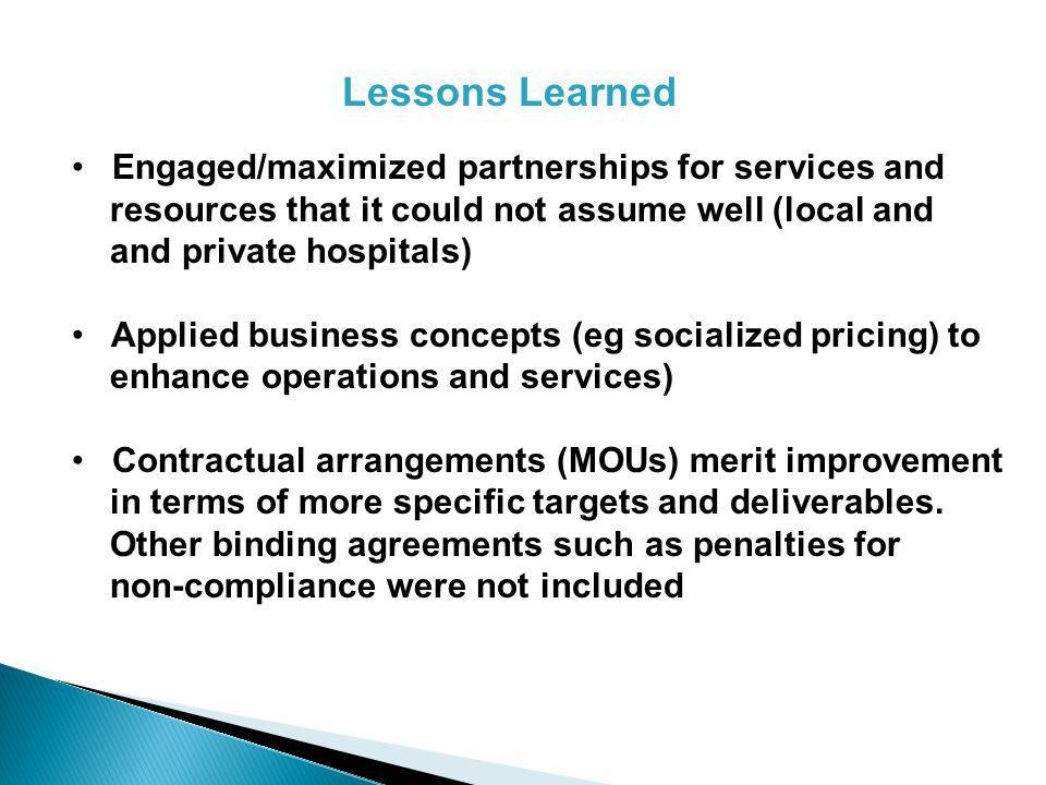 Lessons Learned Engaged/maximized partnerships for services and resources that it could not assume well (local and and private hospitals) Applied business concepts (eg socialized pricing) to enhance operations and services) Contractual arrangements (MOUs) merit improvement in terms of more specific targets and deliverables.