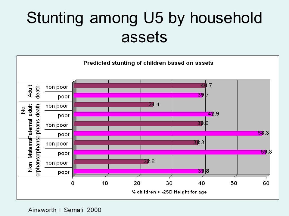 Stunting among U5 by household assets Ainsworth + Semali 2000