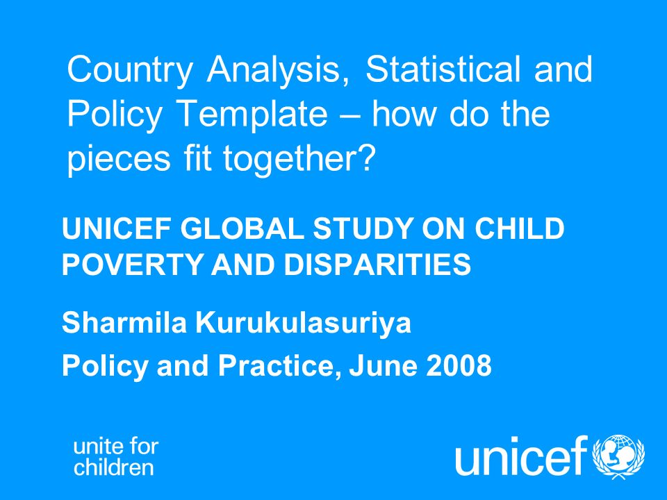 Country Analysis, Statistical and Policy Template – how do the pieces fit together.