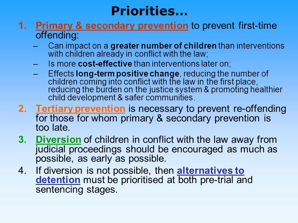 Stages of intervention – breaking the revolving door cycle of detention Focusing on prevention, diversion and alternatives to detention can help to break the revolving door cycle of detention for children in conflict with the law [The following slide has been adapted from Wernham, M., An Outside Chance: Street Children and Juvenile Justice – an International Perspective, Consortium for Street Children, 2004.]