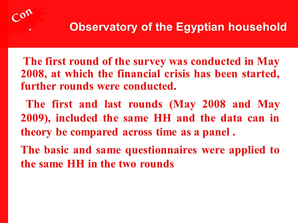 Observatory of the Egyptian household The first round of the survey was conducted in May 2008, at which the financial crisis has been started, further rounds were conducted.