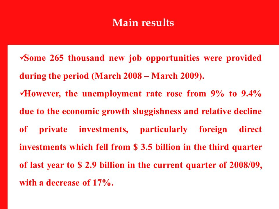 Some 265 thousand new job opportunities were provided during the period (March 2008 – March 2009).