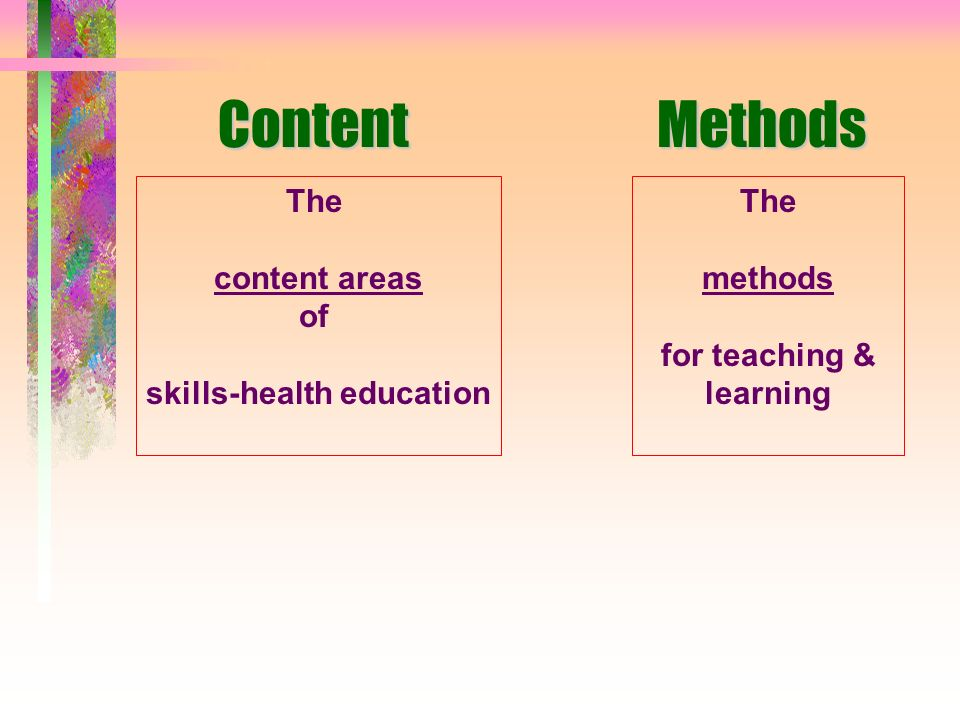 Skills-based health education... - has behaviour change as part of programme objectives - has a balance of knowledge, attitudes and skills - uses part