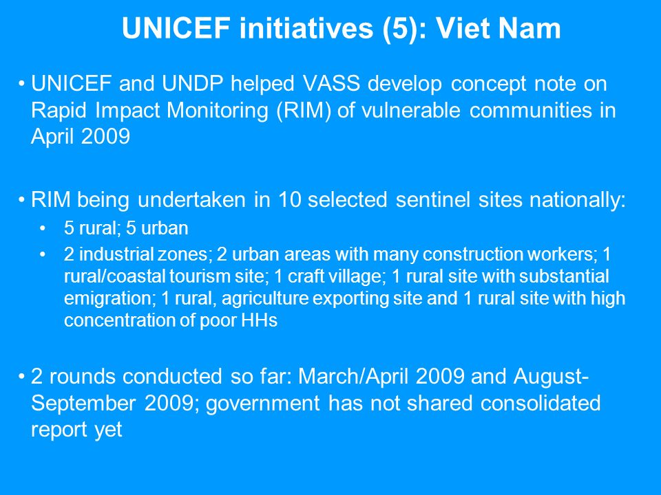UNICEF initiatives (5): Viet Nam UNICEF and UNDP helped VASS develop concept note on Rapid Impact Monitoring (RIM) of vulnerable communities in April