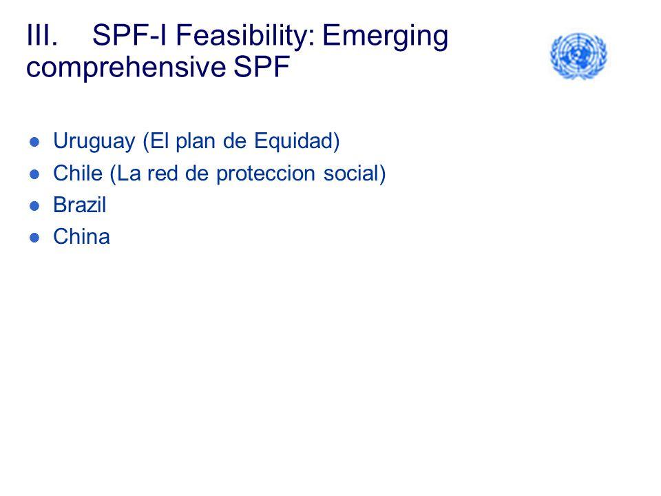 III.SPF-I Feasibility: Emerging comprehensive SPF Uruguay (El plan de Equidad) Chile (La red de proteccion social) Brazil China