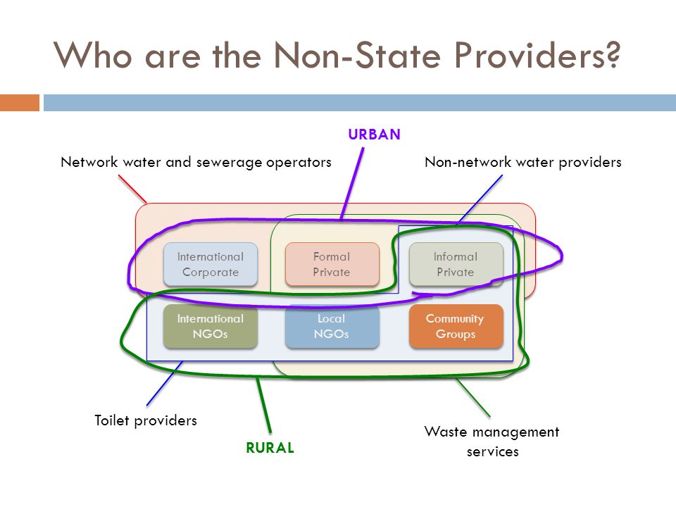 Network water and sewerage operators Waste management services Non-network water providers Toilet providers Who are the Non-State Providers? Internati