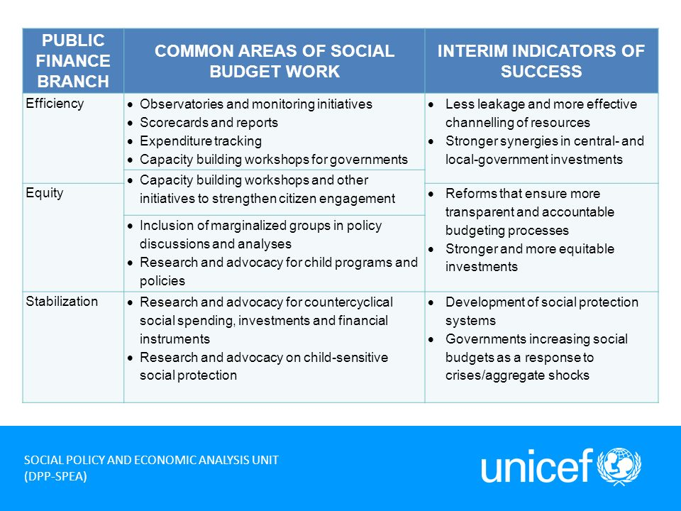 7 SOCIAL POLICY AND ECONOMIC ANALYSIS UNIT (DPP-SPEA) PUBLIC FINANCE BRANCH COMMON AREAS OF SOCIAL BUDGET WORK INTERIM INDICATORS OF SUCCESS Efficiency Observatories and monitoring initiatives Scorecards and reports Expenditure tracking Capacity building workshops for governments Less leakage and more effective channelling of resources Stronger synergies in central- and local-government investments Capacity building workshops and other initiatives to strengthen citizen engagement Equity Reforms that ensure more transparent and accountable budgeting processes Stronger and more equitable investments Inclusion of marginalized groups in policy discussions and analyses Research and advocacy for child programs and policies Stabilization Research and advocacy for countercyclical social spending, investments and financial instruments Research and advocacy on child-sensitive social protection Development of social protection systems Governments increasing social budgets as a response to crises/aggregate shocks