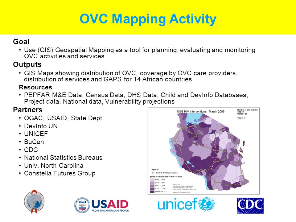 OVC Mapping Activity Goal Use (GIS) Geospatial Mapping as a tool for planning, evaluating and monitoring OVC activities and services Outputs GIS Maps showing distribution of OVC, coverage by OVC care providers, distribution of services and GAPS for 14 African countries Resources PEPFAR M&E Data, Census Data, DHS Data, Child and DevInfo Databases, Project data, National data, Vulnerability projections Partners OGAC, USAID, State Dept.
