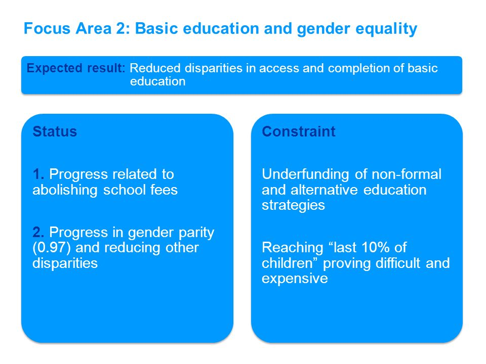 Expected result: Reduced disparities in access and completion of basic education Status 1. Progress related to abolishing school fees 2. Progress in g