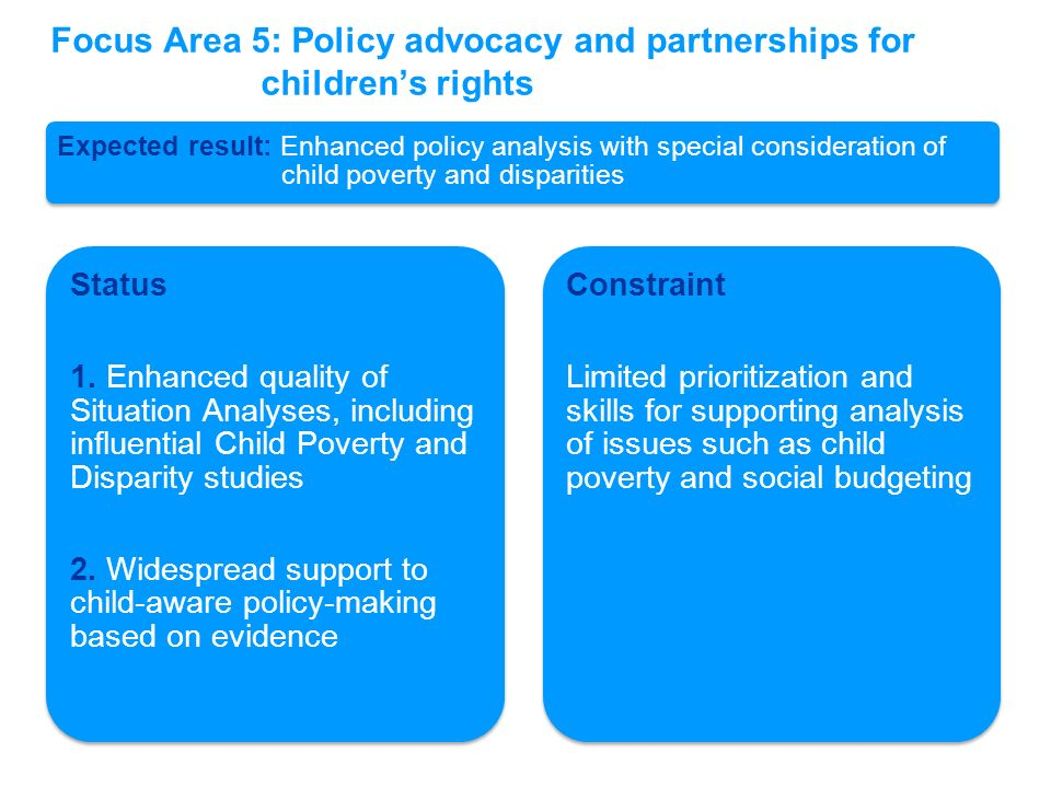 Expected result: Enhanced policy analysis with special consideration of child poverty and disparities Status 1. Enhanced quality of Situation Analyses