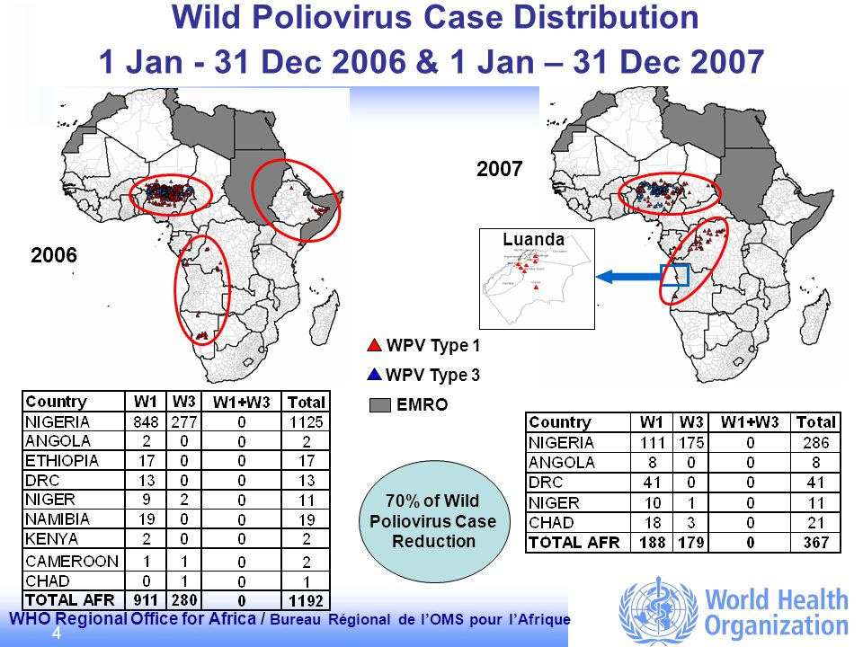 WHO Regional Office for Africa / Bureau Régional de lOMS pour lAfrique 4 Wild Poliovirus Case Distribution 1 Jan - 31 Dec 2006 & 1 Jan – 31 Dec 2007 W
