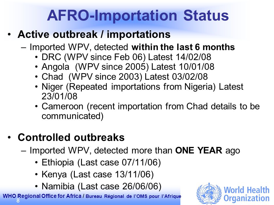 WHO Regional Office for Africa / Bureau Régional de lOMS pour lAfrique 8 AFRO-Importation Status Active outbreak / importations –Imported WPV, detecte