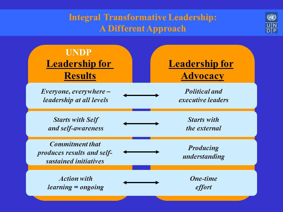Integral Transformative Leadership: A Different Approach Leadership for Advocacy Leadership for Results Everyone, everywhere – leadership at all level