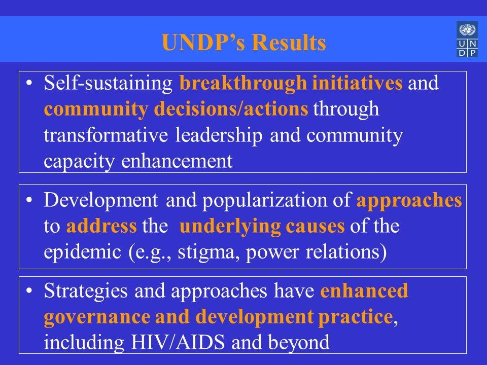 UNDPs Results Self-sustaining breakthrough initiatives and community decisions/actions through transformative leadership and community capacity enhanc