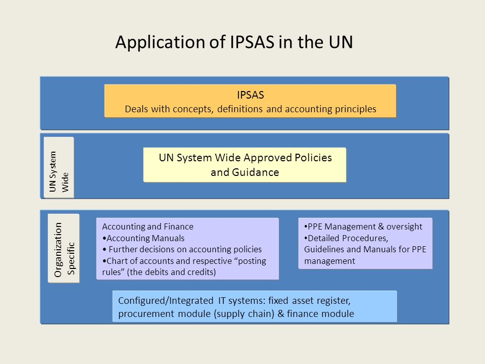 Application of IPSAS in the UN IPSAS Deals with concepts, definitions and accounting principles UN System Wide Approved Policies and Guidance PPE Management & oversight Detailed Procedures, Guidelines and Manuals for PPE management Accounting and Finance Accounting Manuals Further decisions on accounting policies Chart of accounts and respective posting rules (the debits and credits) Organization Specific UN System Wide Configured/Integrated IT systems: fixed asset register, procurement module (supply chain) & finance module