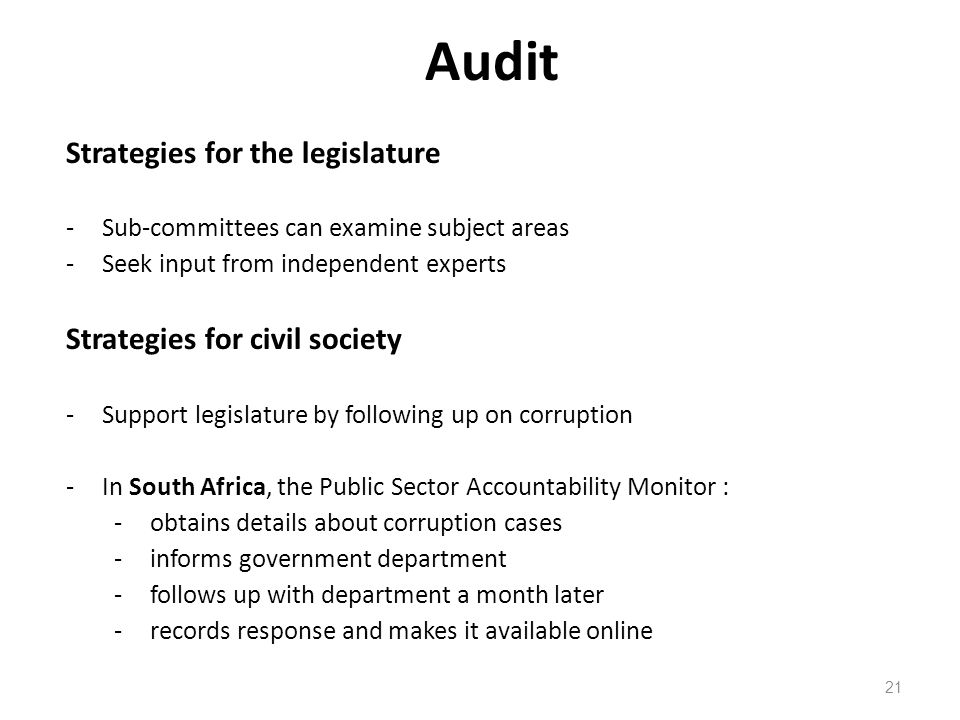 Audit 21 Strategies for the legislature -Sub-committees can examine subject areas -Seek input from independent experts Strategies for civil society -S