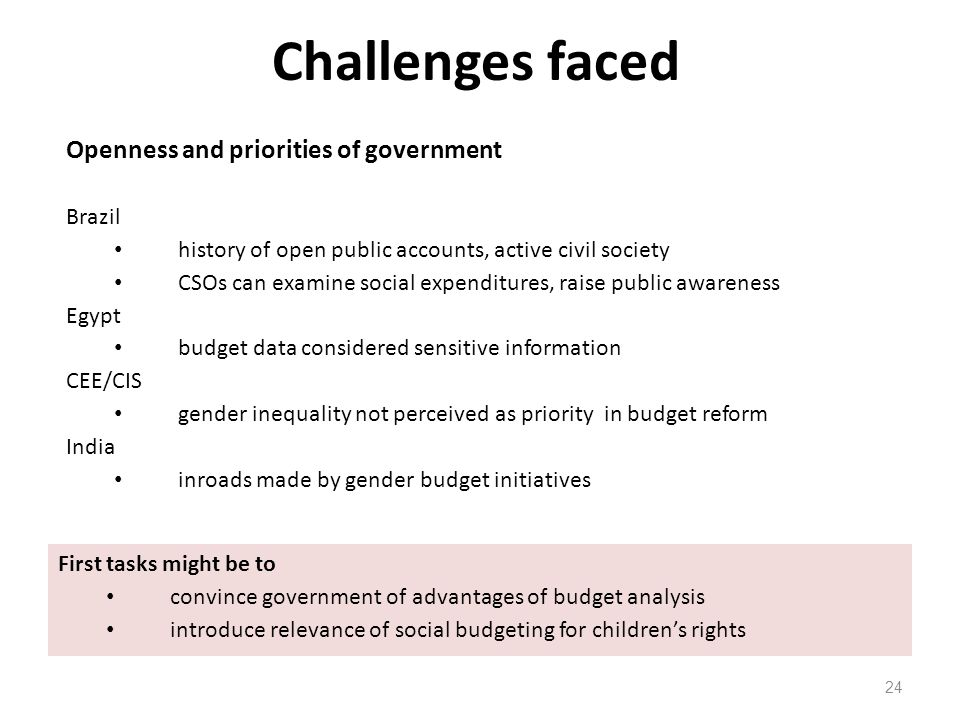 Challenges faced 24 Openness and priorities of government Brazil history of open public accounts, active civil society CSOs can examine social expendi