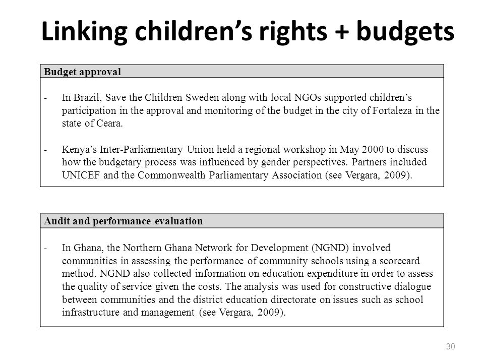 Linking childrens rights + budgets 30 Audit and performance evaluation - In Ghana, the Northern Ghana Network for Development (NGND) involved communit