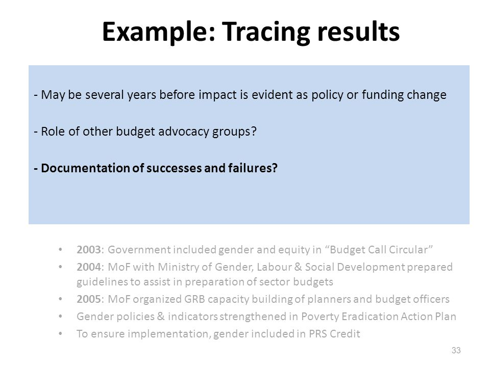 Example: Tracing results 33 Uganda: Gender responsive budgeting (GRB) Initiated in 1999 by coalition of womens rights groups and parliamentarians Key