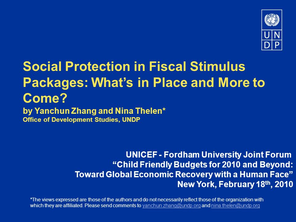 Social Protection in Fiscal Stimulus Packages: Whats in Place and More to Come.