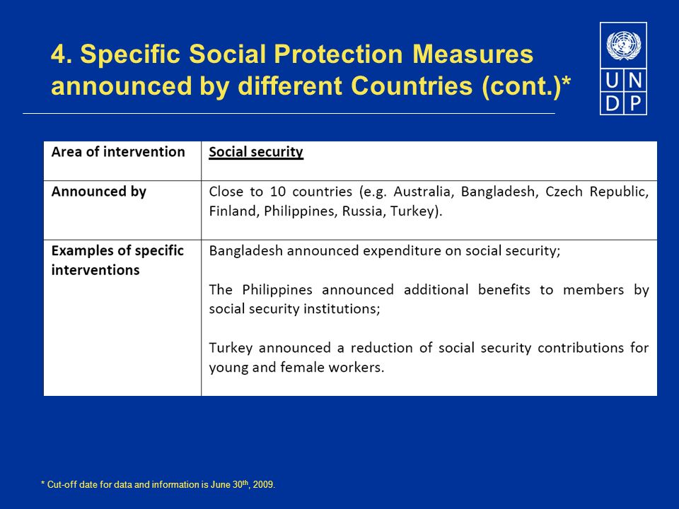 4. Specific Social Protection Measures announced by different Countries (cont.)* * Cut-off date for data and information is June 30 th, 2009.