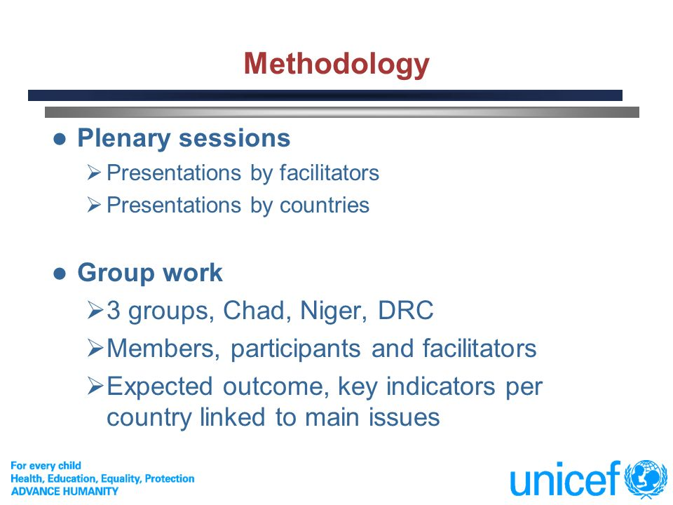 3 Methodology Plenary sessions Presentations by facilitators Presentations by countries Group work 3 groups, Chad, Niger, DRC Members, participants and facilitators Expected outcome, key indicators per country linked to main issues
