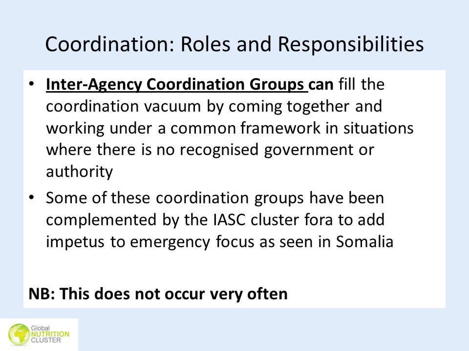 Coordination: Roles and Responsibilities Inter-Agency Coordination Groups can fill the coordination vacuum by coming together and working under a comm